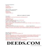 Beadle County Completed Example of the Special Warranty Deed Document Page 1