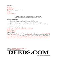 Charles Mix County Completed Example of the Transfer on Death Revocation Document Page 1