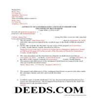 Clark County Completed Example of the Transfer on Death Affidavit Document Page 1
