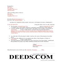 Spink County Completed Example of the Affidavit of Deceased Joint Tenant Document Page 1