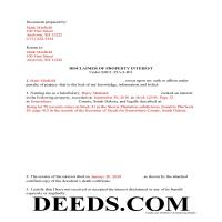 Beadle County Completed Example of the Disclaimer of Interest Document Page 1