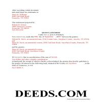 Hamblen County Completed Example of the Quit Claim Deed Document Page 1