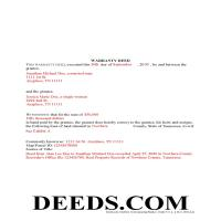 Obion County Completed Example of the Warranty Deed Document Page 1