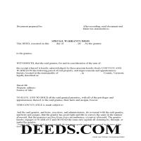 Orange County Special Warranty Deed Form Page 1
