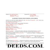 Grand Isle County Completed Example of the Easement Deed Document Page 1