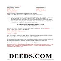 Lynchburg City Completed Example of the Transfer on Death Revocation Document Page 1