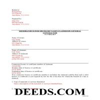 Falls Church City Completed Example of the Memorandum for Mechanics Lien Document Page 1