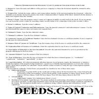 King George County Memorandum for Mechanics Lien Guide Page 1