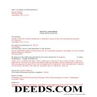 Wahkiakum County Completed Example of the Quit Claim Deed Document Page 1