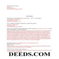 Klickitat County Completed Example of the Gift Deed Document Page 1