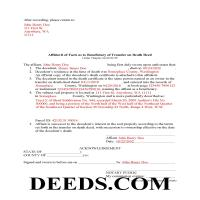Pacific County Completed Example of the Transfer on Death Affidavit Document Page 1