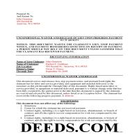 Clark County Completed Example of the Unconditional Waiver and Release of Claim upon Progress Payment Form Page 1