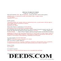 Jackson County Completed Example of the Special Warranty Deed Document Page 1