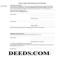 District Of Columbia County Transfer on Death Deed Form Page 1
