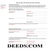 District Of Columbia County Completed Example of the Transfer on Death Deed Document Page 1