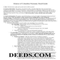 District Of Columbia County Warranty Deed Guide Page 1