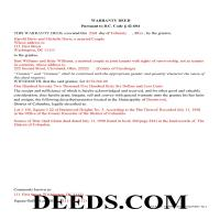 District Of Columbia County Completed Example of the Warranty Deed Document Page 1