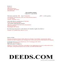 District Of Columbia County Completed Example of the Fee Simple Deed Document Page 1