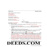 Honolulu County Completed Example of the Affidavit of Death Document Page 1