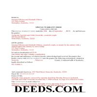 Scott County Completed Example of the Special Warranty Deed Document Page 1