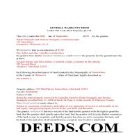 Baltimore County Completed Example of the Warranty Deed Document Page 1