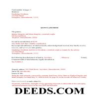 Dukes County Completed Example of the Quit Claim Deed Document Page 1