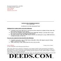 Cheboygan County Completed Example of the Notice of Commencement Document Page 1
