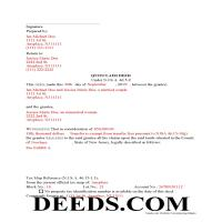 Middlesex County Completed Example of the Quit Claim Deed Document Page 1