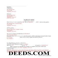 Essex County Completed Example of the Warranty Deed Document Page 1