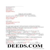 Middlesex County Completed Example of the Bargain and Sale Deed Document Page 1