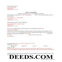 Warren County Completed Example of the Quit Claim Deed Document Page 1