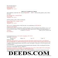 Warren County Completed Example of the Special Warranty Deed Document Page 1