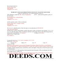 Chemung County Completed Example of the Bargain and Sale Deed with Covenants Document Page 1