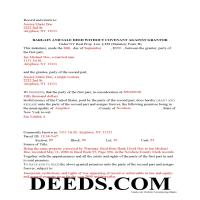 New York County Completed Example of the Bargain and Sale Deed without Covenants Document Page 1