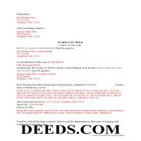 Okmulgee County Completed Example of the Warranty Deed Document Page 1