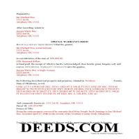 Logan County Completed Example of the Special Warranty Deed Document Page 1