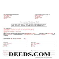 Ouachita County Completed Example of the Beneficiary Deed Revocation Document Page 1