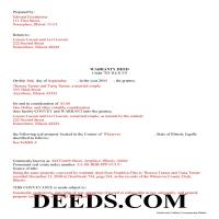 Wabash County Completed Example of the Warranty Deed Document Page 1