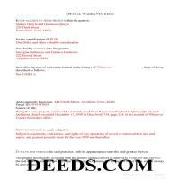 Worth County Completed Example of the Special Warranty Deed Document Page 1