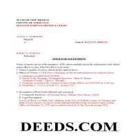 Santa Fe County Completed Example of the Notice of Lis Pendens Document Page 1