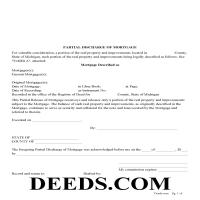 Kalkaska County Partial Discharge of Mortgage Form Page 1