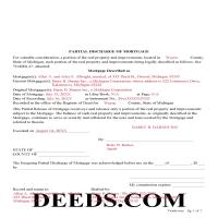 Kalkaska County Completed Example of the Partial Discharge of Mortgage Document Page 1