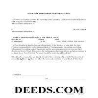Rio Arriba County Notice of Assignment of Deed of Trust Form Page 1