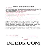 Jeff Davis County Completed Example of the Notice of Assignment of Security Deed Document Page 1