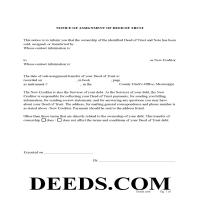 Yalobusha County Notice of Assignment of Deed of Trust Form Page 1