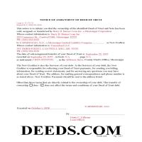Yalobusha County Completed Example of the Notice of Assignment of Deed of Trust Document Page 1