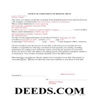 Marshall County Completed Example of the Notice of Assignment of Deed of Trust Document Page 1