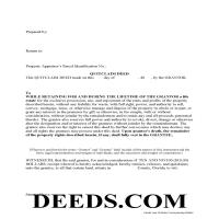 Flagler County Enhanced Life Estate Deed Quit Claim Deed Form Page 1
