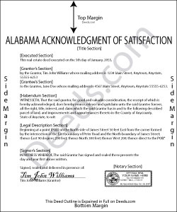 Alabama Acknowledgment of Satisfaction Form