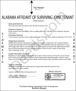 Alabama Affidavit of Surviving Joint Tenant Forms | Deeds.com
